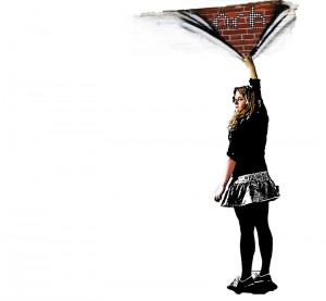 Mural of a girl in front of a wall pulling away paint to reveal brickwork underneath with the Orb logo on